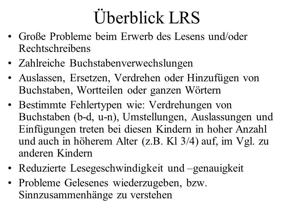 Überblick LRS Große Probleme beim Erwerb des Lesens und/oder Rechtschreibens. Zahlreiche Buchstabenverwechslungen.