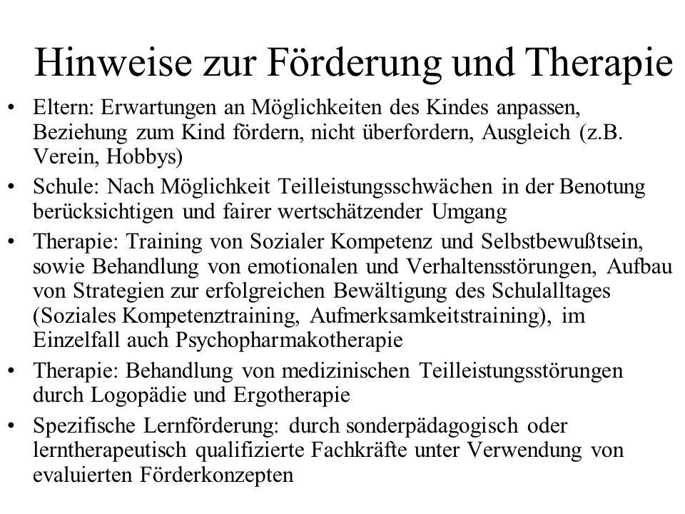 Hinweise zur Förderung und Therapie