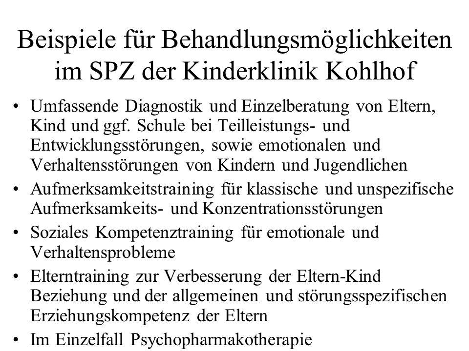Beispiele für Behandlungsmöglichkeiten im SPZ der Kinderklinik Kohlhof