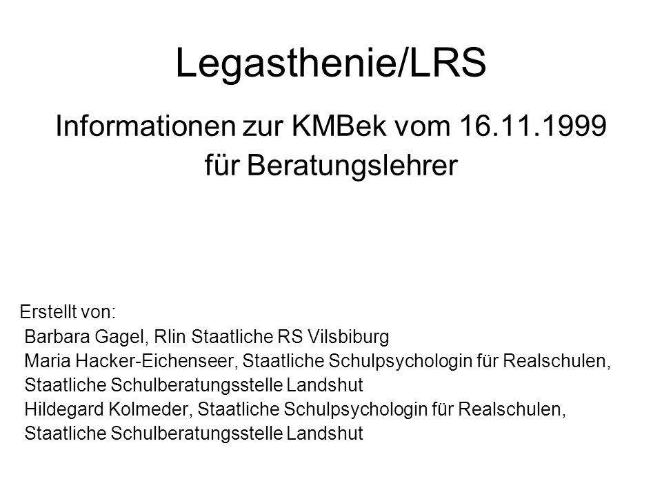 Informationen zur KMBek vom 16.11.1999