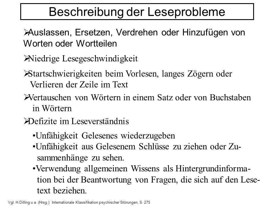 Beschreibung der Leseprobleme