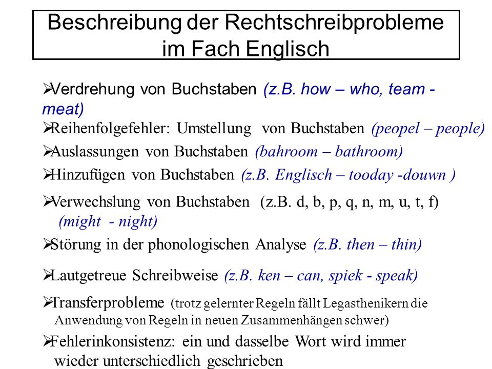 Beschreibung der Rechtschreibprobleme im Fach Englisch