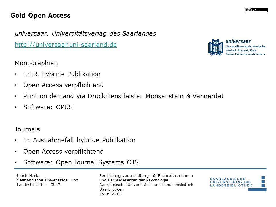 universaar, Universitätsverlag des Saarlandes