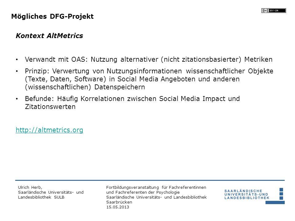 Mögliches DFG-Projekt