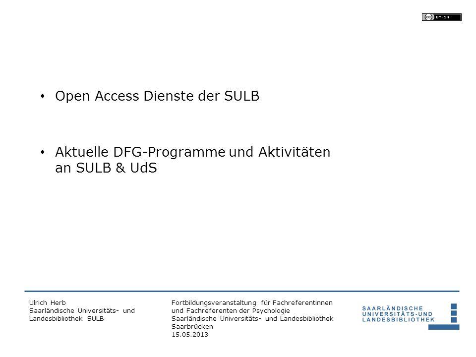 Open Access Dienste der SULB