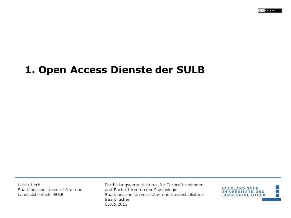 1. Open Access Dienste der SULB