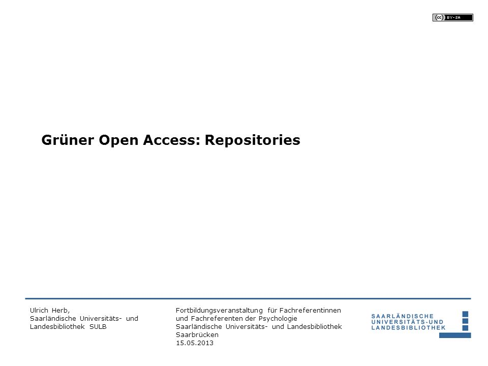 Grüner Open Access: Repositories