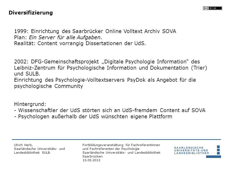 Realität: Content vorrangig Dissertationen der UdS.