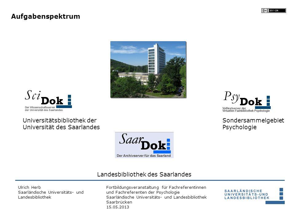 Aufgabenspektrum Universitätsbibliothek der Universität des Saarlandes