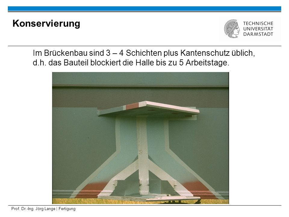 Konservierung Im Brückenbau sind 3 – 4 Schichten plus Kantenschutz üblich, d.h. das Bauteil blockiert die Halle bis zu 5 Arbeitstage.