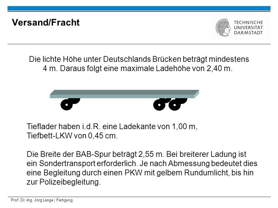 Versand/Fracht Die lichte Höhe unter Deutschlands Brücken beträgt mindestens 4 m. Daraus folgt eine maximale Ladehöhe von 2,40 m.
