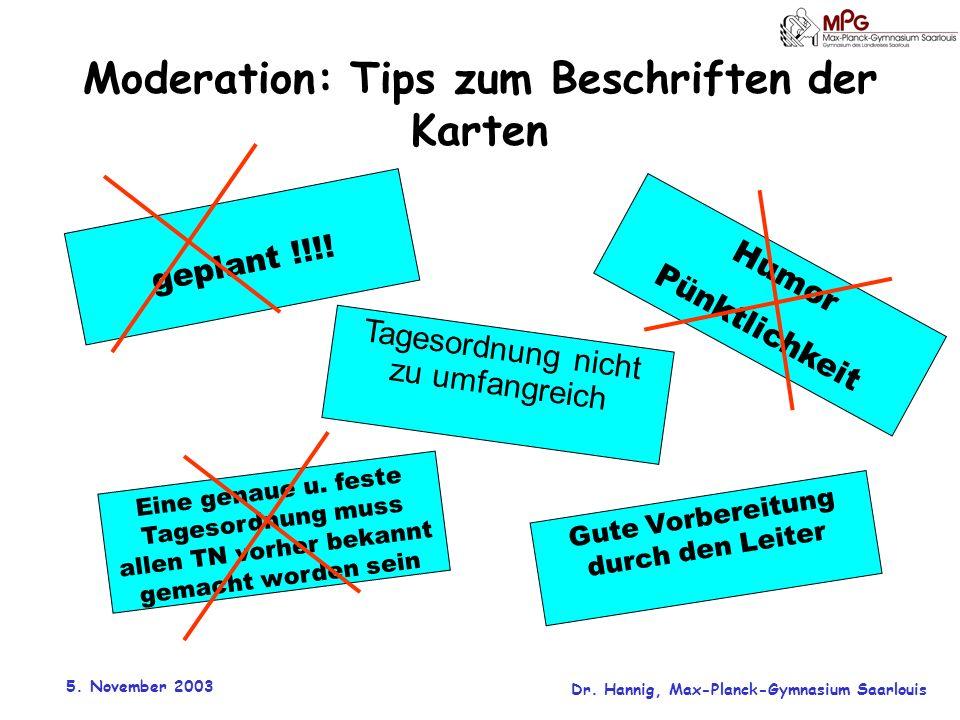 Moderation: Tips zum Beschriften der Karten