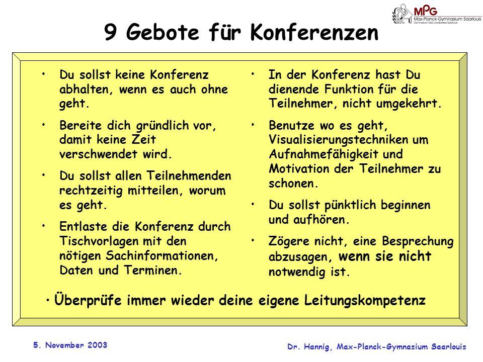 9 Gebote für Konferenzen