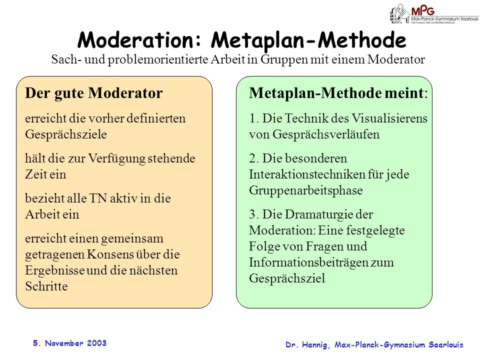 Moderation: Metaplan-Methode