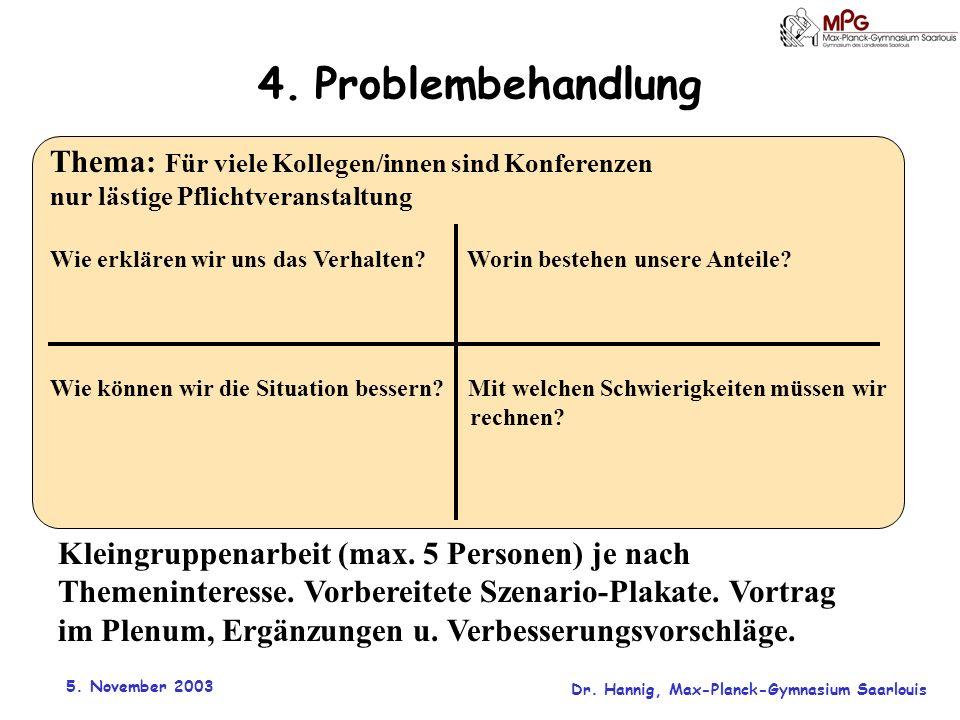 4. Problembehandlung Thema: Für viele Kollegen/innen sind Konferenzen