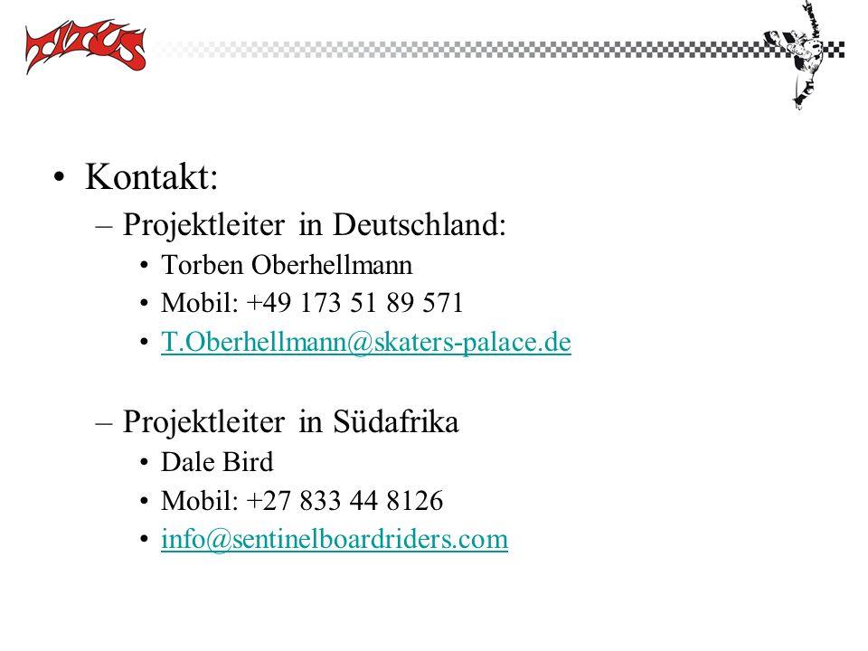 Kontakt: Projektleiter in Deutschland: Projektleiter in Südafrika