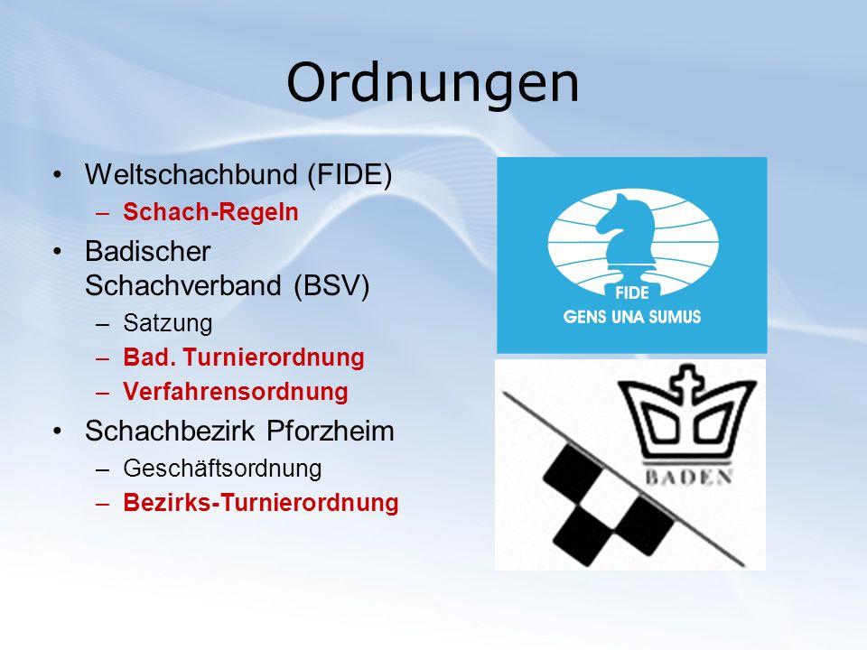 Ordnungen Weltschachbund (FIDE) Badischer Schachverband (BSV)
