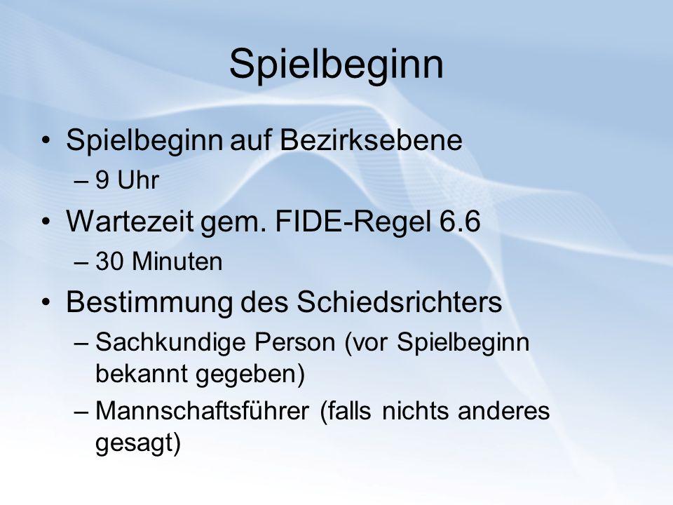 Spielbeginn Spielbeginn auf Bezirksebene Wartezeit gem. FIDE-Regel 6.6