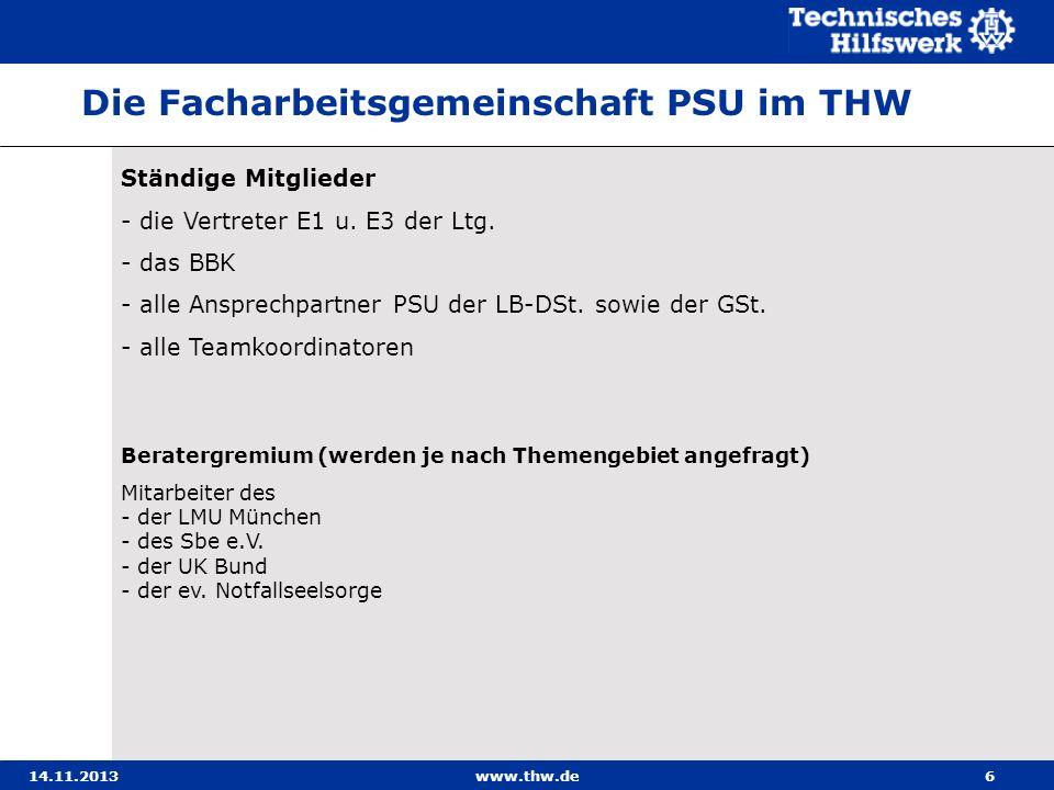 Die Facharbeitsgemeinschaft PSU im THW