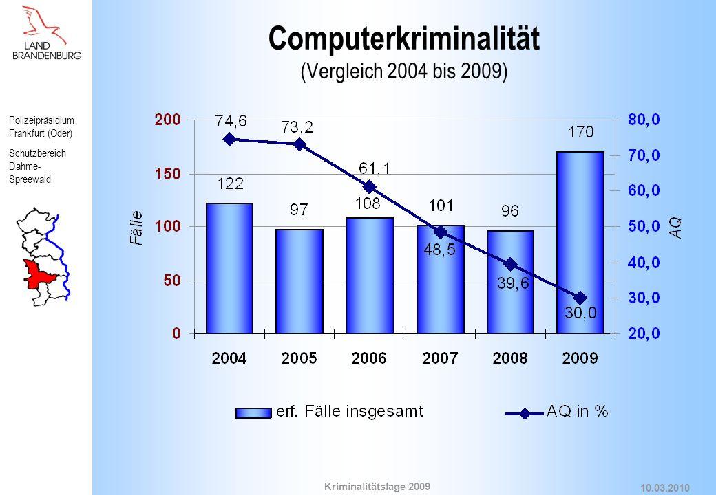 Computerkriminalität (Vergleich 2004 bis 2009)