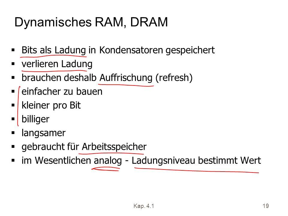 Dynamisches RAM, DRAM Bits als Ladung in Kondensatoren gespeichert