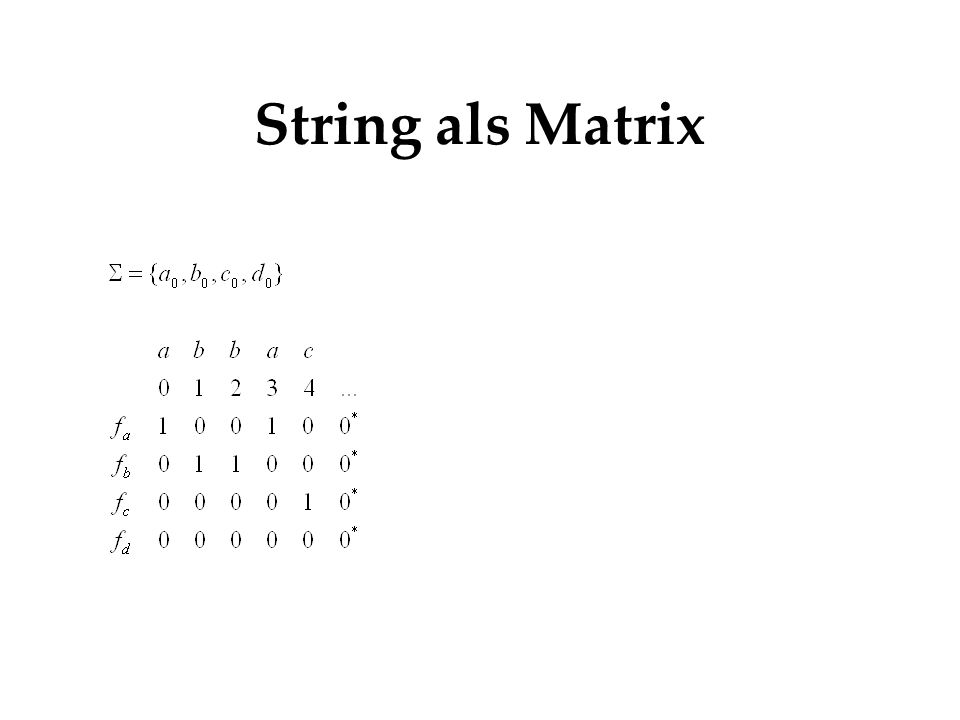 String als Matrix Funktion leifert 1 wenn element an position