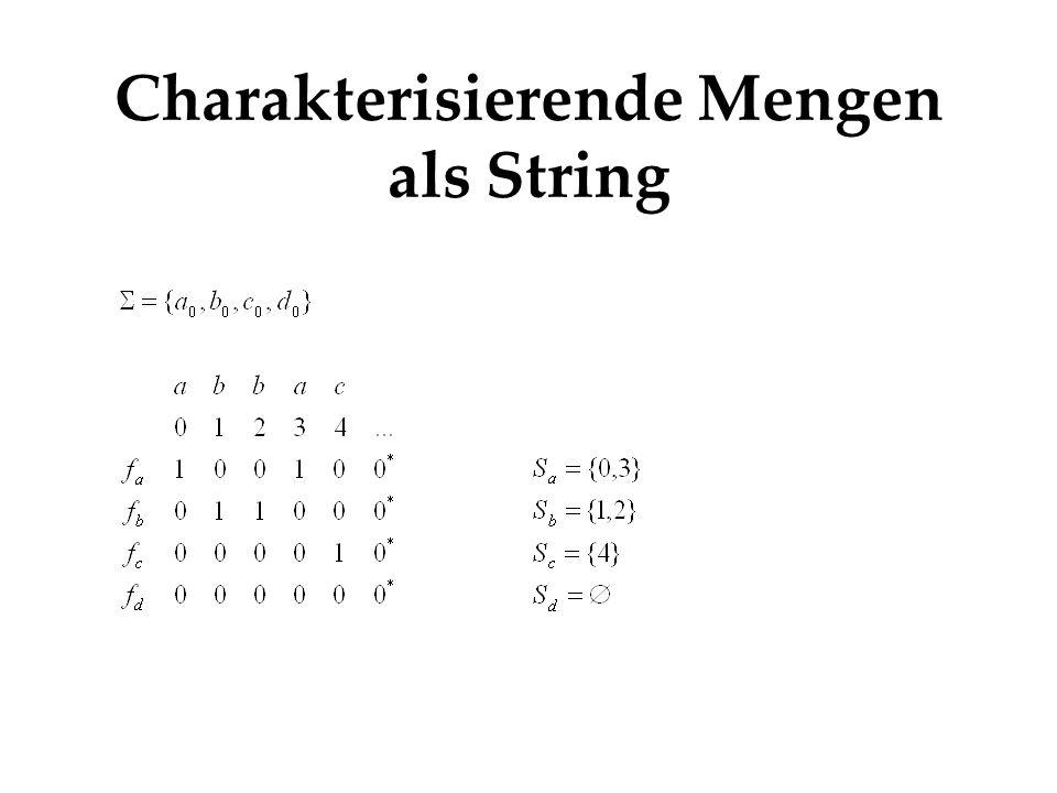 Charakterisierende Mengen als String