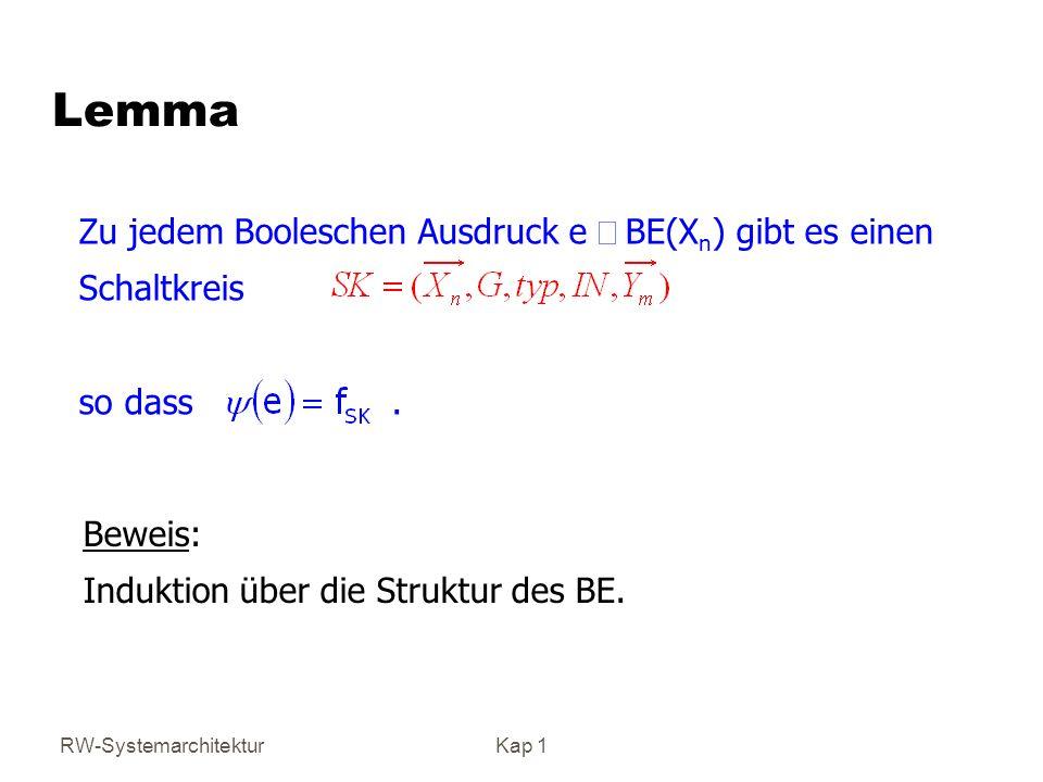 Lemma Zu jedem Booleschen Ausdruck e Î BE(Xn) gibt es einen