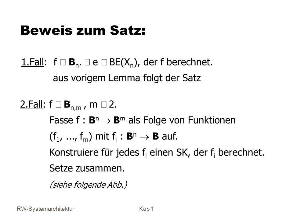 Beweis zum Satz: 1.Fall: f Î Bn. $ e Î BE(Xn), der f berechnet.