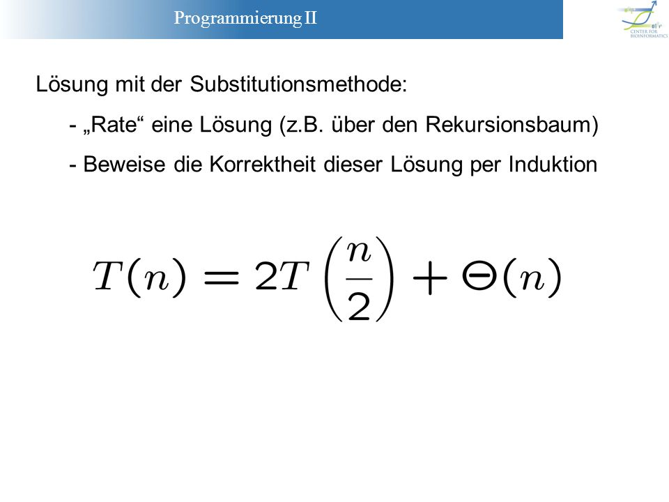 Lösung mit der Substitutionsmethode: