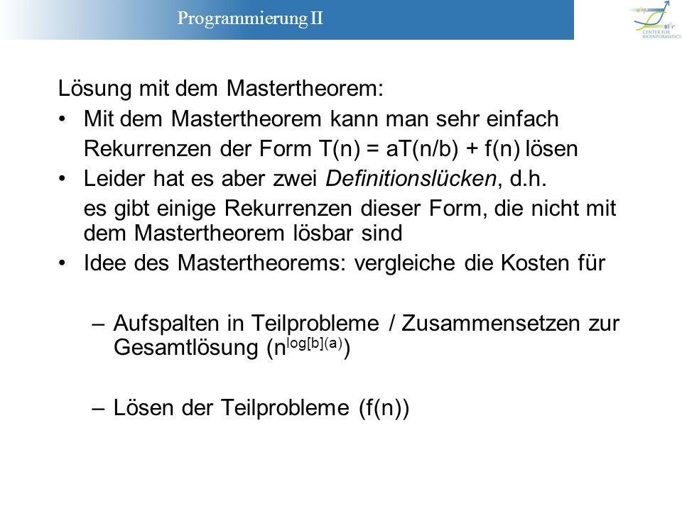 Lösung mit dem Mastertheorem: