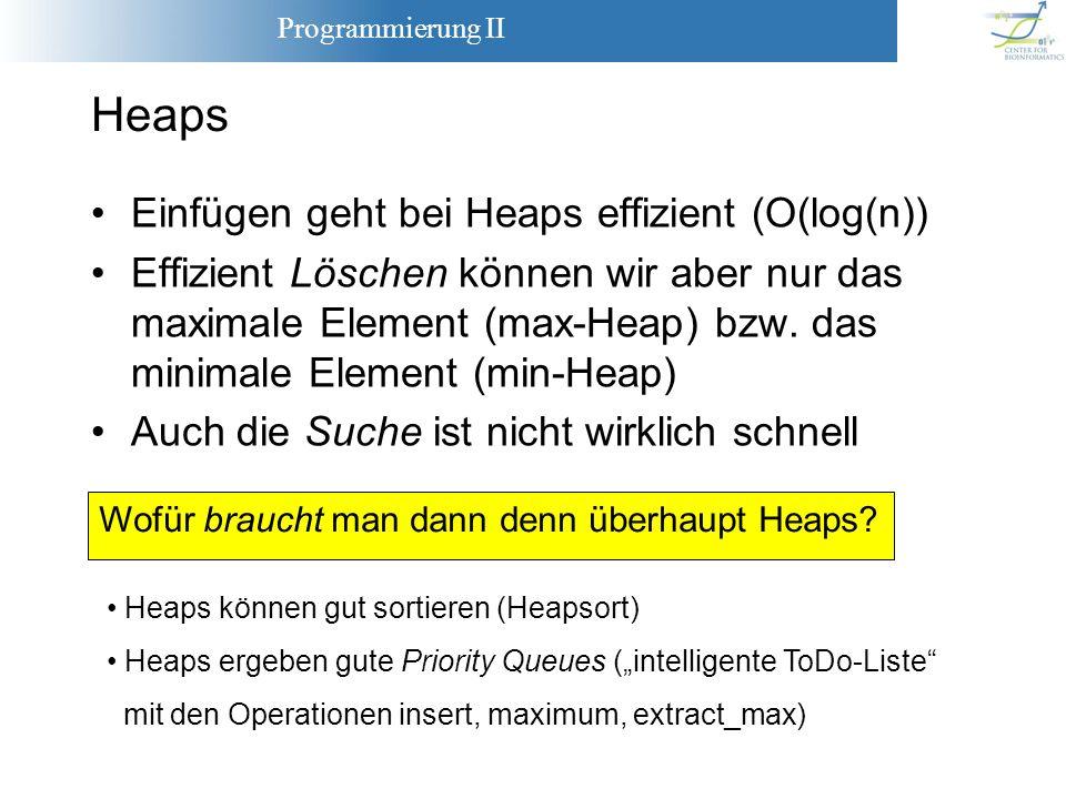 Heaps Einfügen geht bei Heaps effizient (O(log(n))
