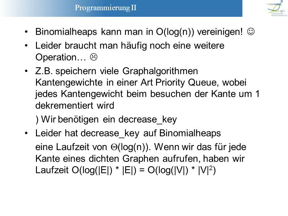Binomialheaps kann man in O(log(n)) vereinigen! 
