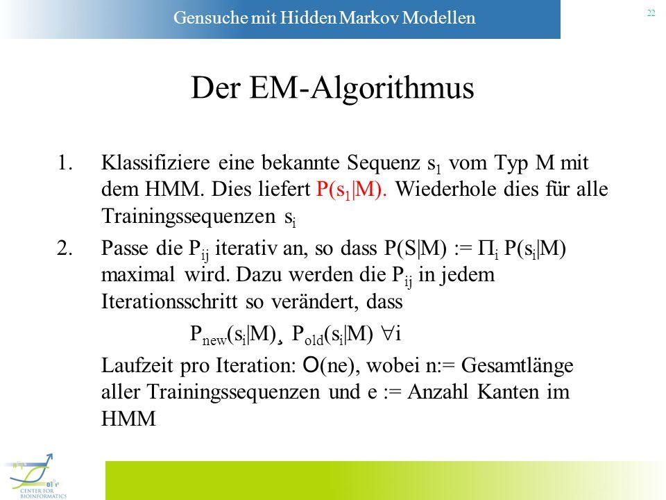 Der EM-Algorithmus Klassifiziere eine bekannte Sequenz s1 vom Typ M mit dem HMM. Dies liefert P(s1|M). Wiederhole dies für alle Trainingssequenzen si.