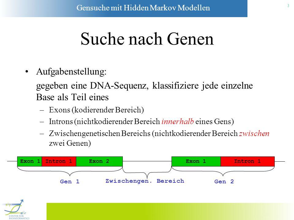 Suche nach Genen Aufgabenstellung: