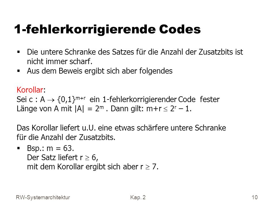 1-fehlerkorrigierende Codes