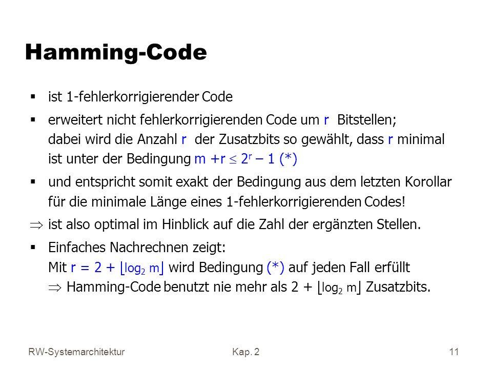 Hamming-Code ist 1-fehlerkorrigierender Code