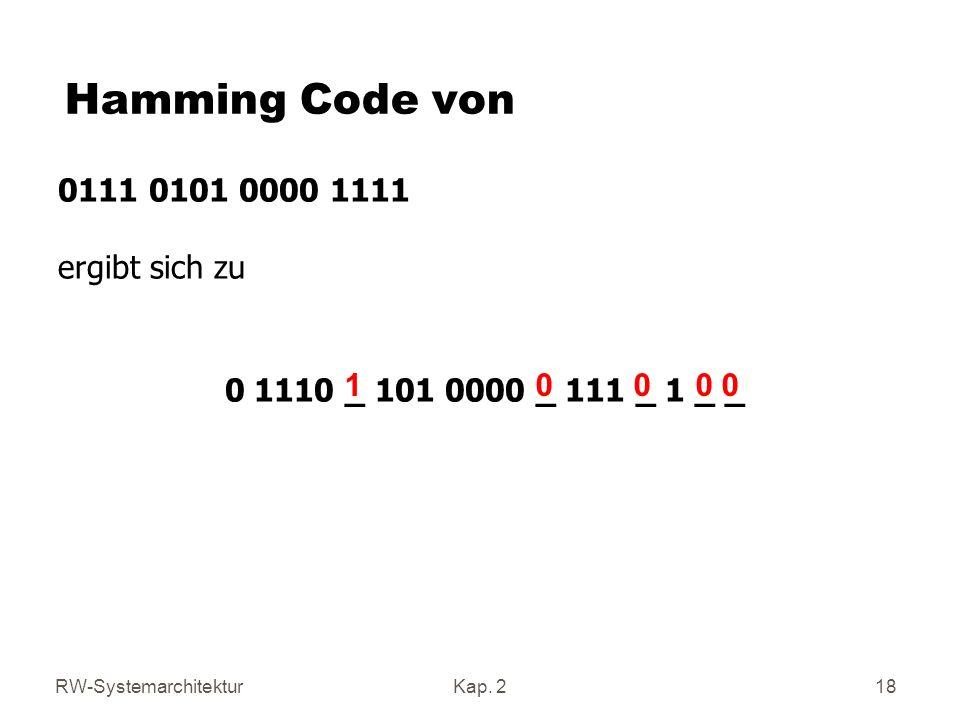 Hamming Code von 0111 0101 0000 1111 ergibt sich zu