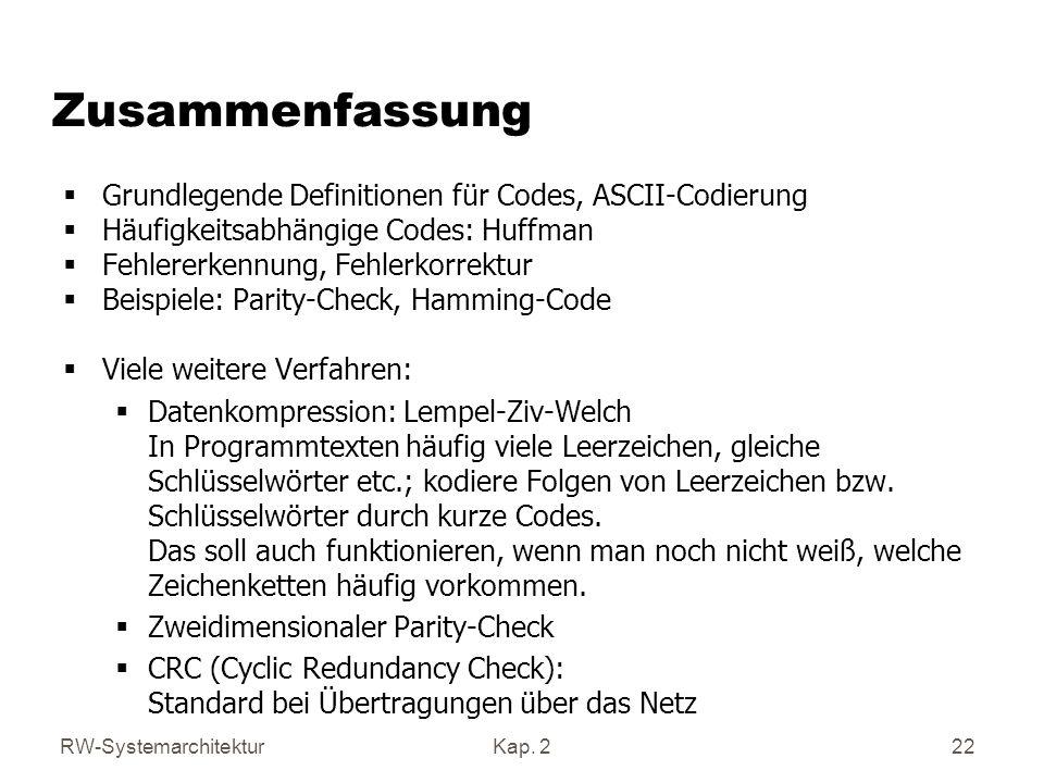 Zusammenfassung Grundlegende Definitionen für Codes, ASCII-Codierung