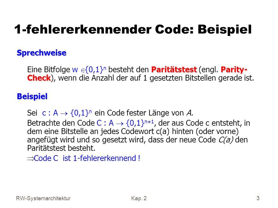 1-fehlererkennender Code: Beispiel