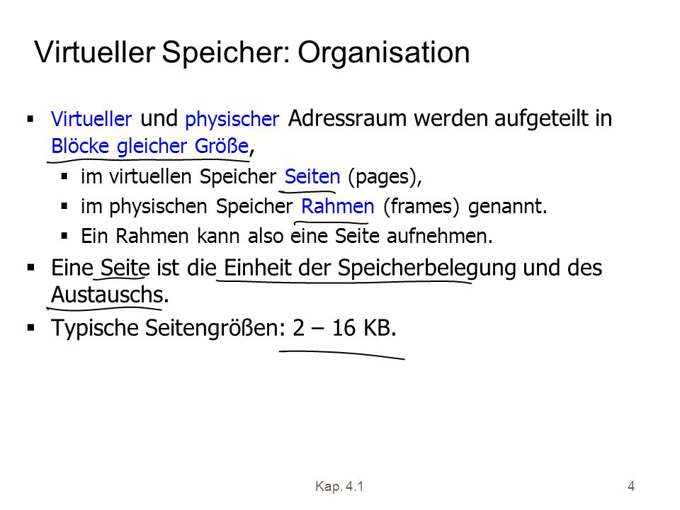 Virtueller Speicher: Organisation
