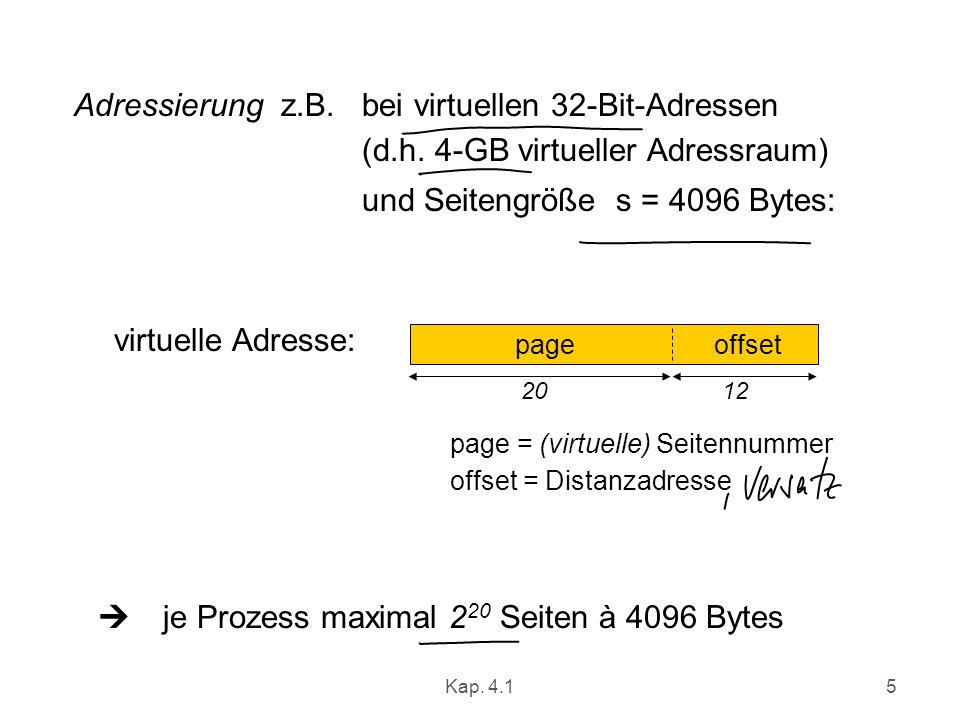 Adressierung z.B. bei virtuellen 32-Bit-Adressen