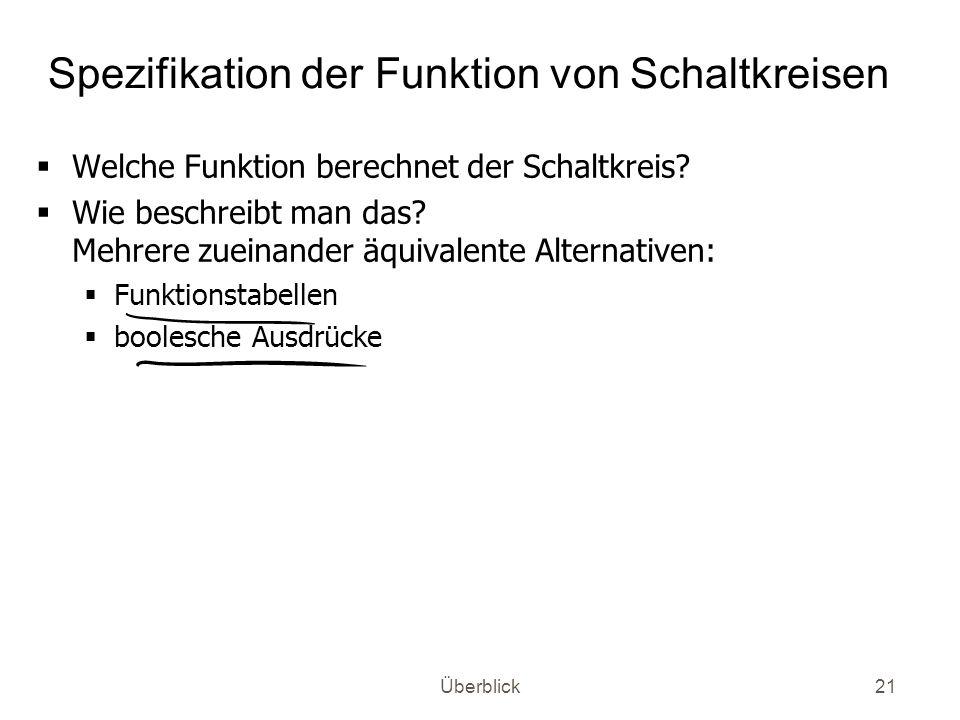 Spezifikation der Funktion von Schaltkreisen