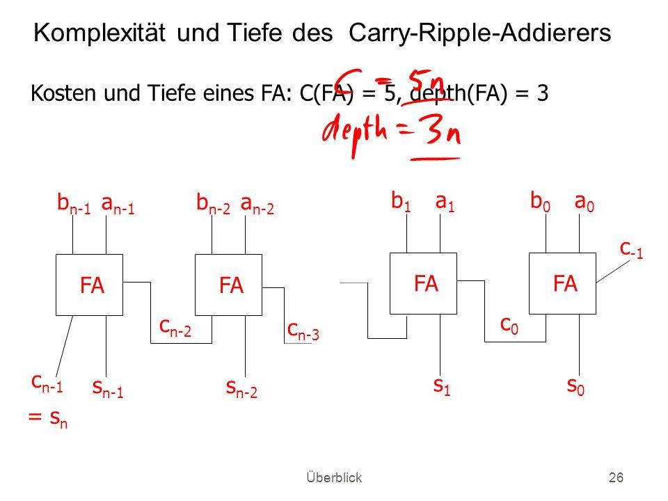 Komplexität und Tiefe des Carry-Ripple-Addierers