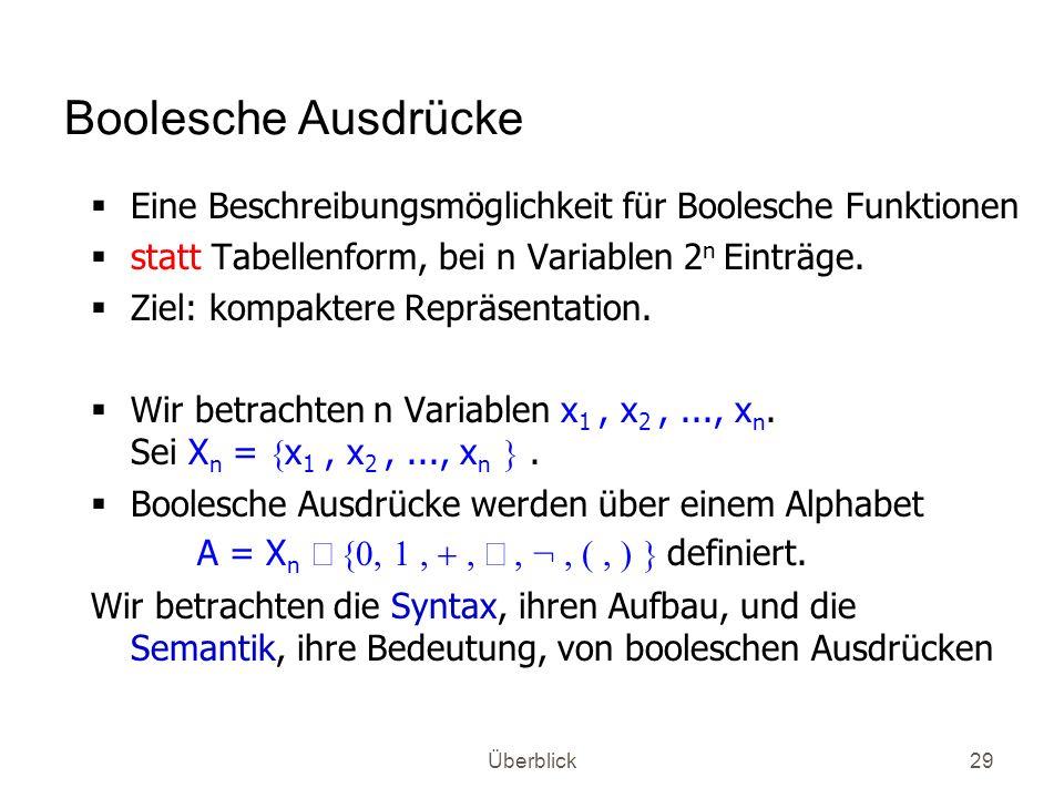 Boolesche Ausdrücke Eine Beschreibungsmöglichkeit für Boolesche Funktionen. statt Tabellenform, bei n Variablen 2n Einträge.