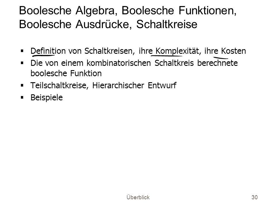 Boolesche Algebra, Boolesche Funktionen, Boolesche Ausdrücke, Schaltkreise
