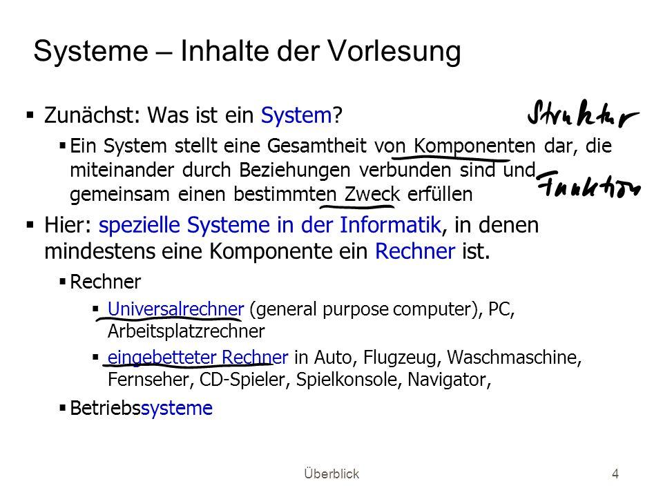 Systeme – Inhalte der Vorlesung