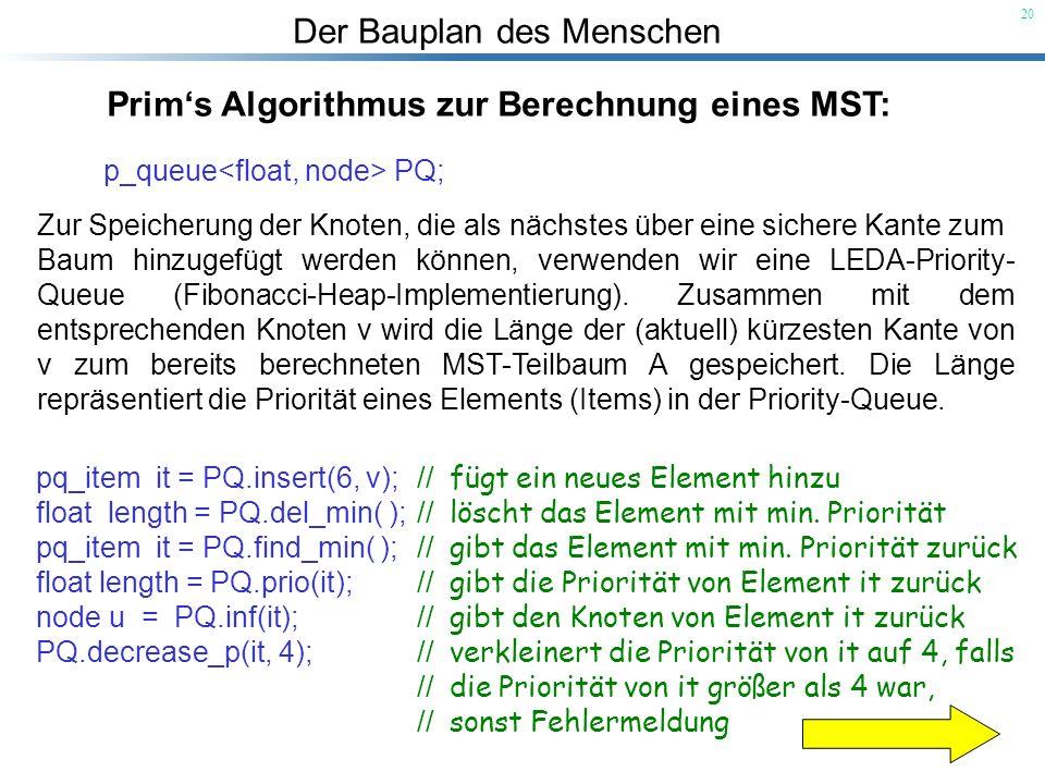 Prim's Algorithmus zur Berechnung eines MST: