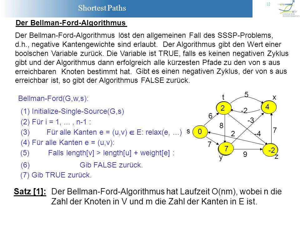 Der Bellman-Ford-Algorithmus hat Laufzeit O(nm), wobei n die