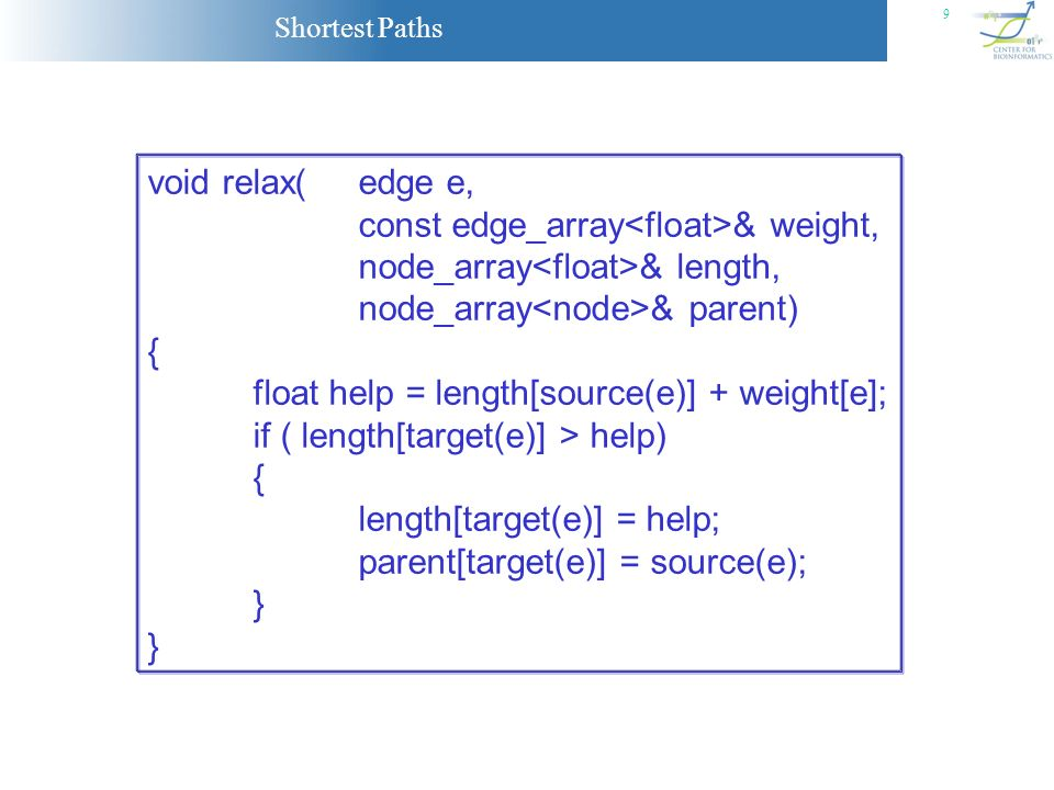 void relax( edge e, const edge_array<float>& weight, node_array<float>& length, node_array<node>& parent)